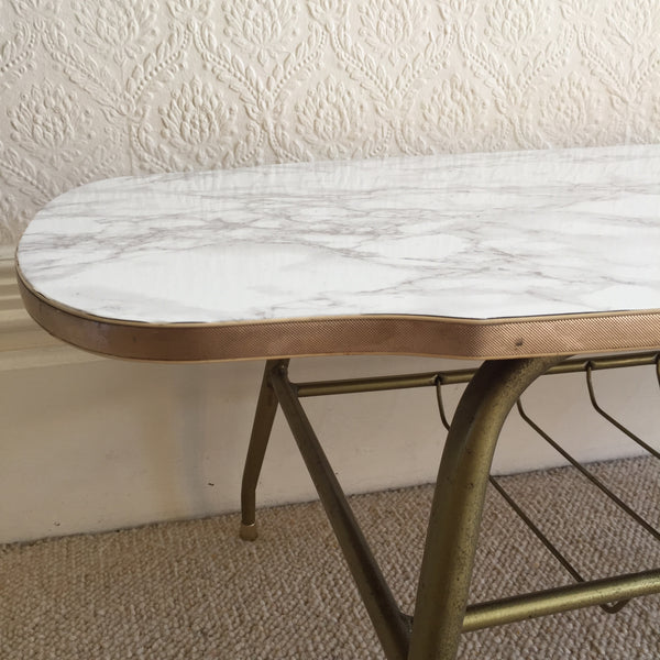 Marble Effect Vintage Coffee Table 1950s - Table Basse Vintage Effet Marbre - Free delivery UK France