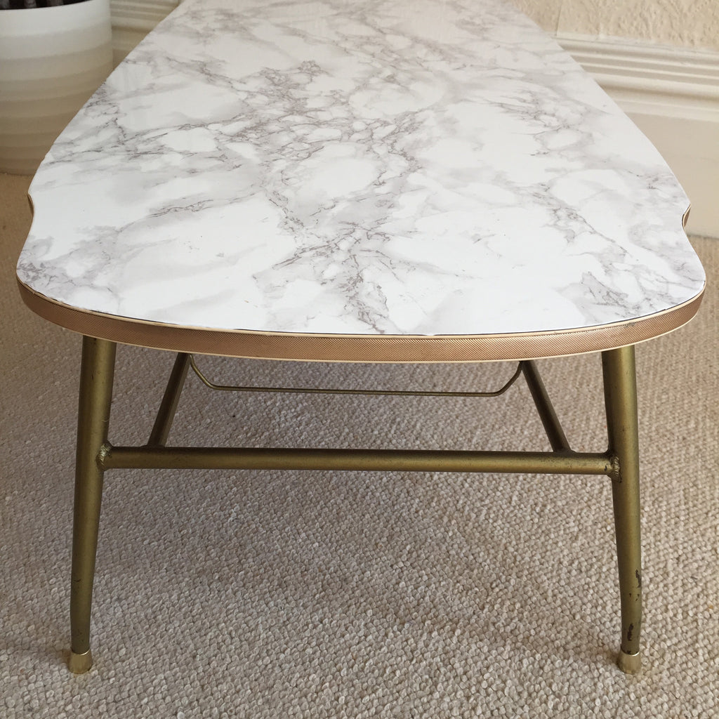 marble effect vintage coffee table 1950s table basse. Black Bedroom Furniture Sets. Home Design Ideas