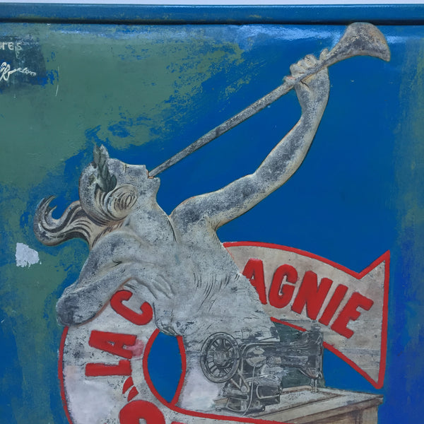 Old French Metal Plate Singer Advertising Sign - Ancienne Enseigne Plaque Publicitaire Singer Zinc - Free delivery UK - Livraison gratuite France