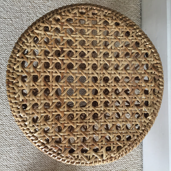 Vintage Boho Wicker Stool - Tabouret Rotin Tressé Boheme - Free Delivery UK & France