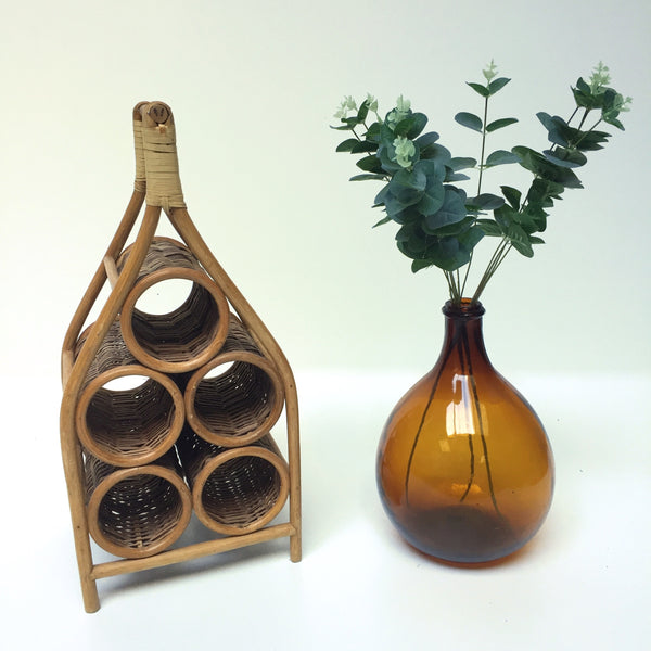 A Vintage Wicker Bottle Holder - Porte Bouteilles en Rotin Vintage - Free Delivery UK & France