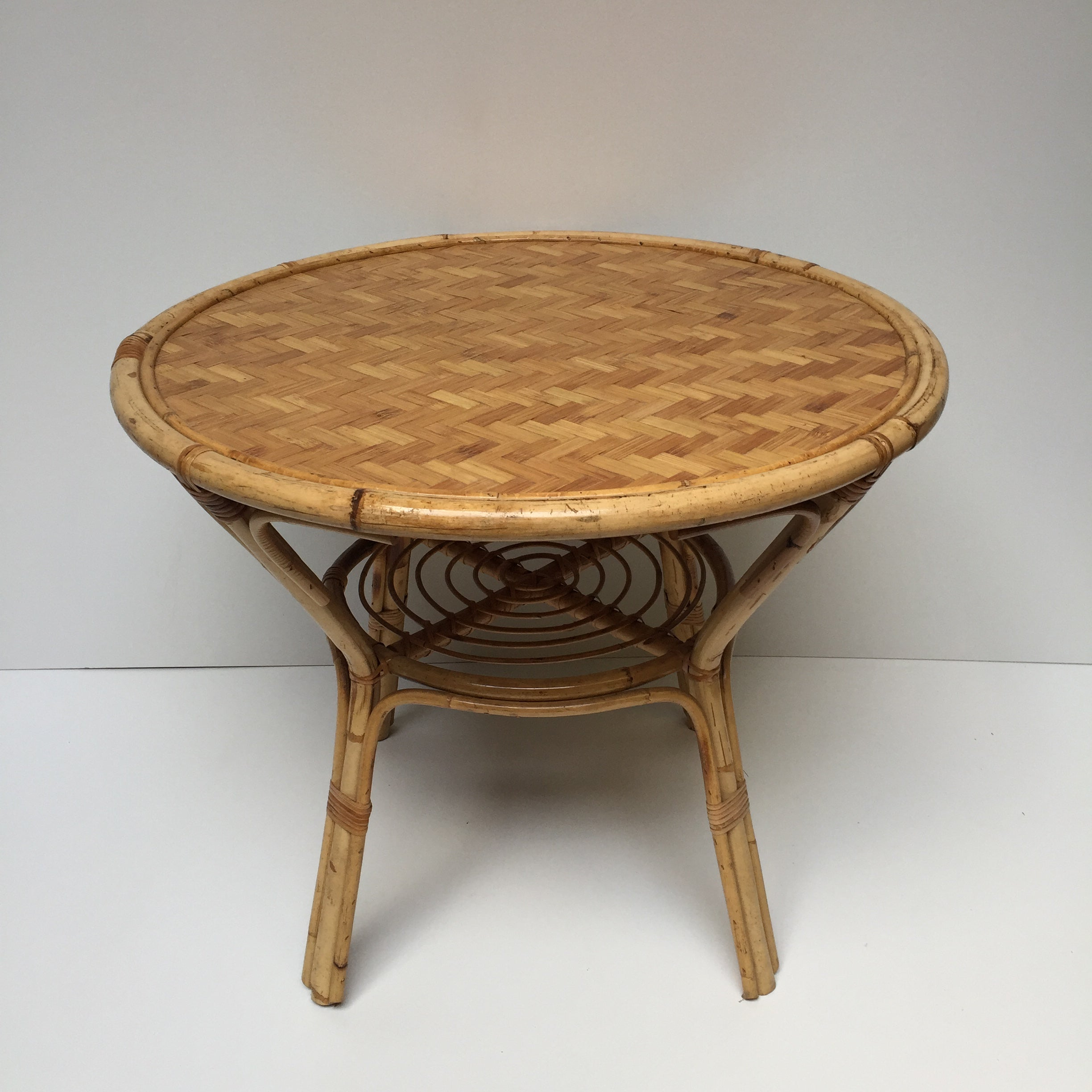 1970s Vintage Wicker Dining Table  - Table A Manger Vintage Rotin 70 - Free Delivery UK - Livraison Gratuite France