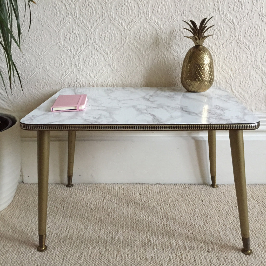 small marble effect vintage coffee table 1950s - petite table