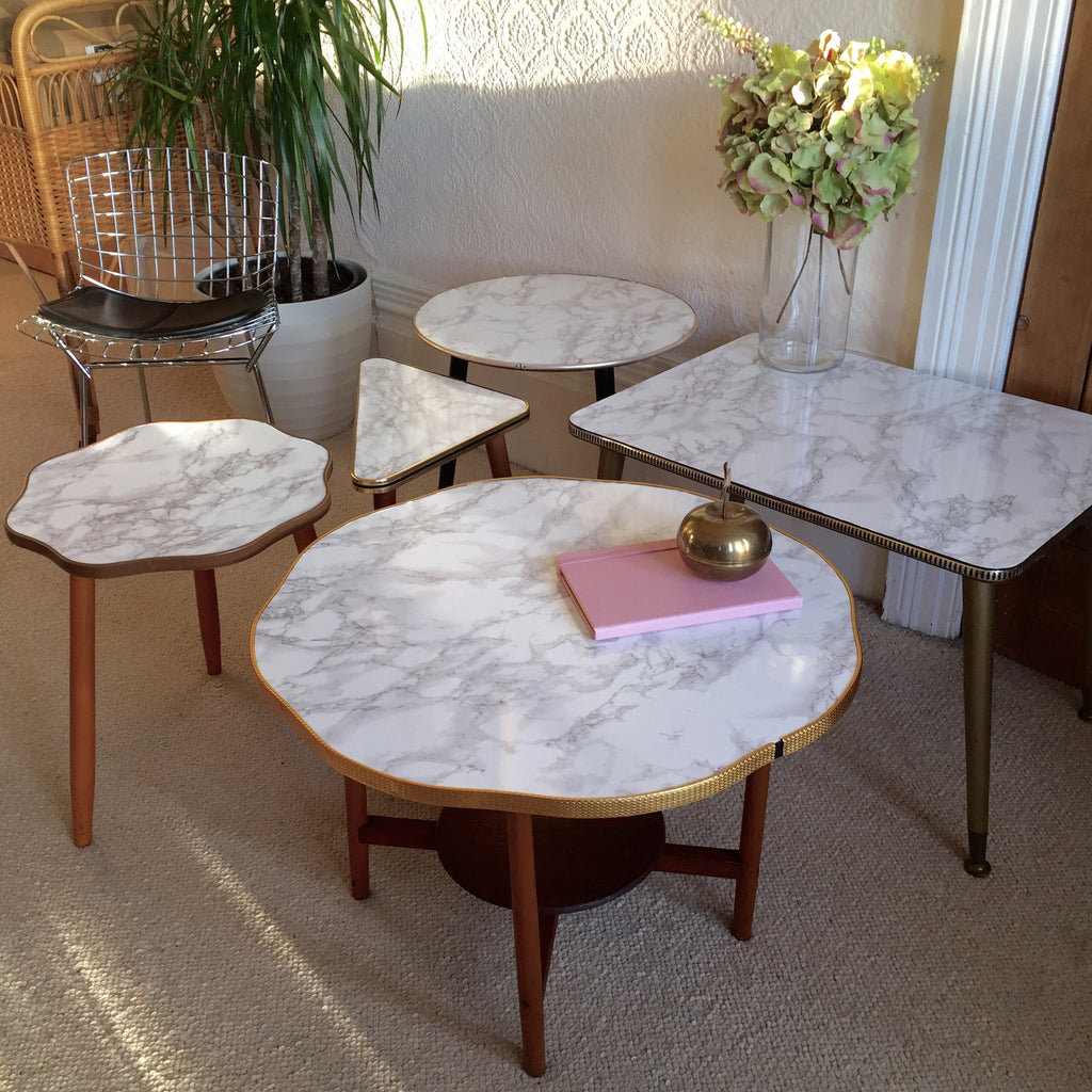 Marble effect vintage cloud coffee table 1950s table basse table basse plateau rond effet marbre - Table basse effet marbre ...