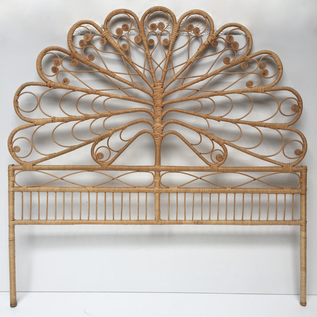 vintage boho peacock lovehearts wicker rattan double headboard tete d la petite brocante. Black Bedroom Furniture Sets. Home Design Ideas