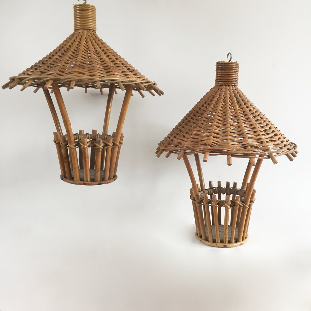 french wicker lampshade abat jour suspension lanterne