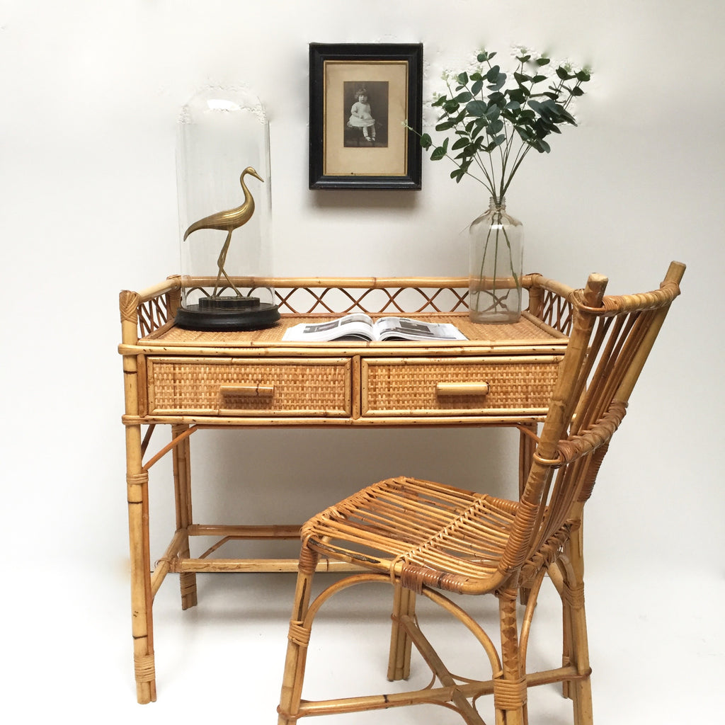 vintage wicker desk bureau vintage rotin free delivery uk livrai la petite brocante. Black Bedroom Furniture Sets. Home Design Ideas