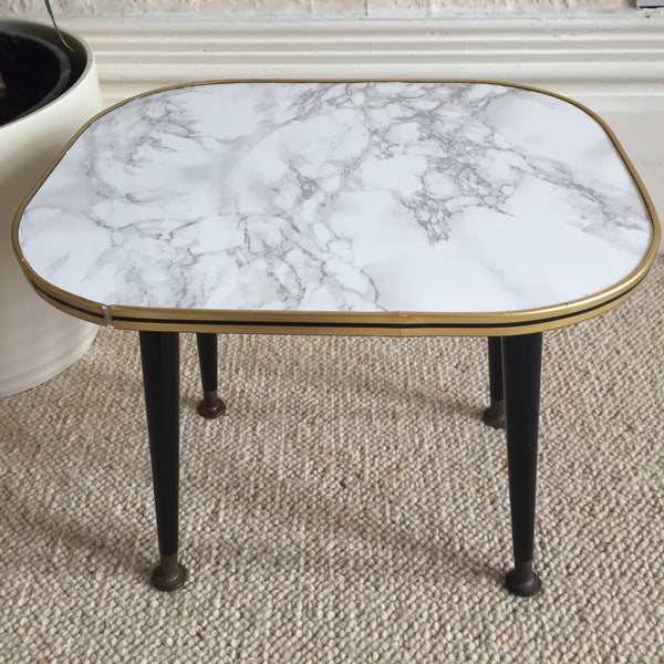 Small Marble Effect Vintage Coffee Table 1950s - Petite Table Basse Vintage 39cm Effet Marbre - Free delivery UK France