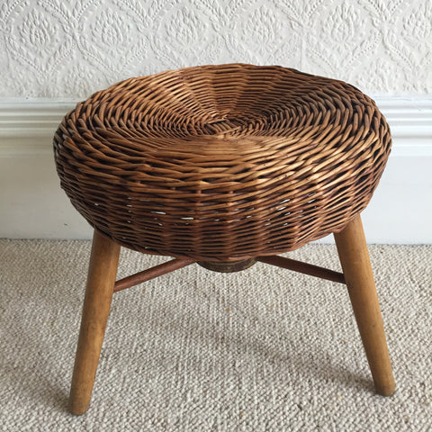 Vintage Boho Wicker and Wood Stool - Tabouret Vintage Osier et Bois- Free Delivery UK-Livraison Gratuite France