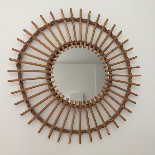 Original 1960s Vintage Rattan Rotin Wicker Sunburst Mirror - Miroir Soleil Rotin Vintage Authentique- Free Delivery UK-Livraison Gratuite France