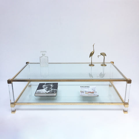 Vintage French Glass and Metal Coffee Table - Table de Salon Vintage Verre et Laiton Pierre Vandel - Free delivery- Livraison Gratuite