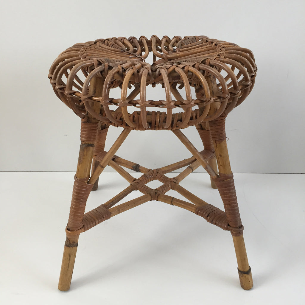vintage boho wicker stool tabouret rotin vintage free delivery uk la petite brocante. Black Bedroom Furniture Sets. Home Design Ideas