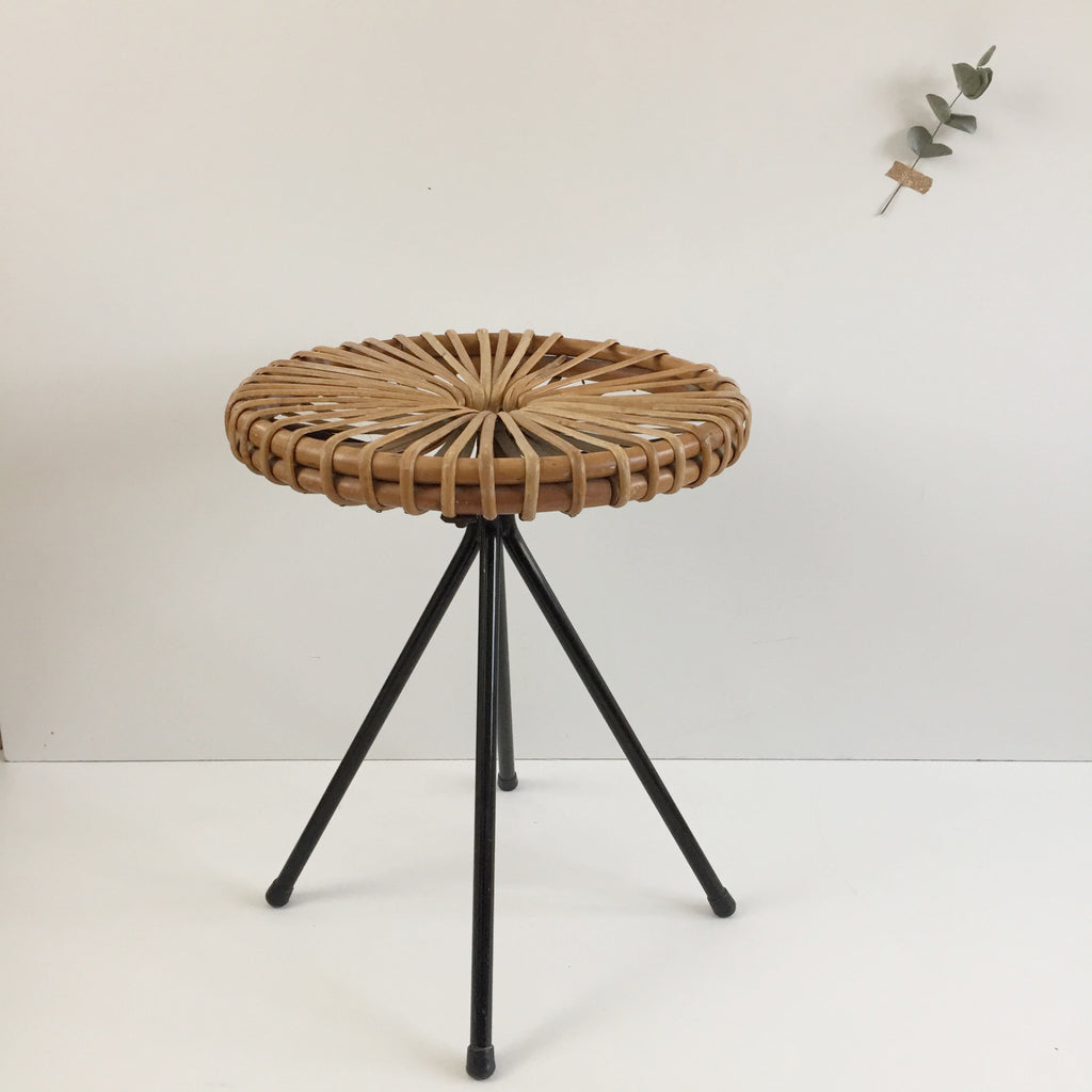 1950s Vintage Rohé Noorwolde Metal and Wicker Table - Petite Table Vintage Rotin et Metal Rohé Noorwolde - Free Delivery UK - Livraison Gratuite France