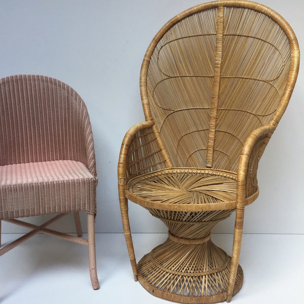 vintage peacock 1970s adult wicker chair fauteuil emmanuelle vintage la petite brocante. Black Bedroom Furniture Sets. Home Design Ideas