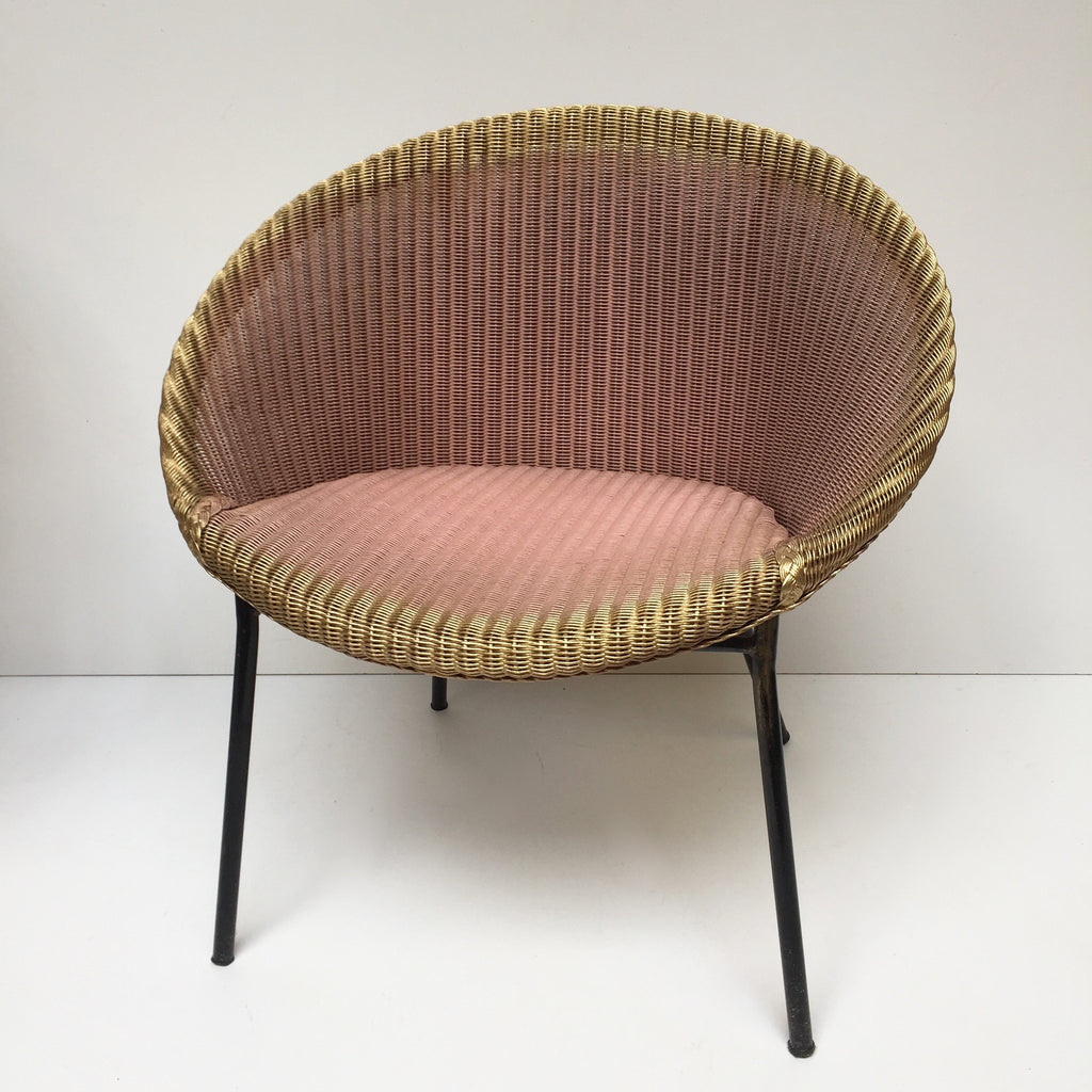 Pink Lusty Lloyd Loom Vintage Wicker Chair 1950s - Chaise Lusty Lloyd Loom Rose Osier et Metal - free delivery UK/France
