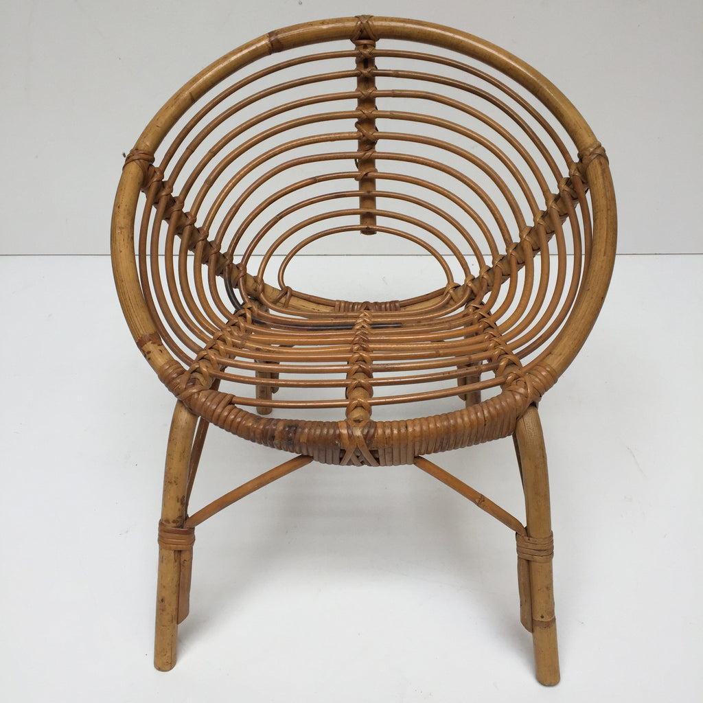 Vintage Rattan Wicker Kid s Sun Chair Fauteuil Rotin Soleil