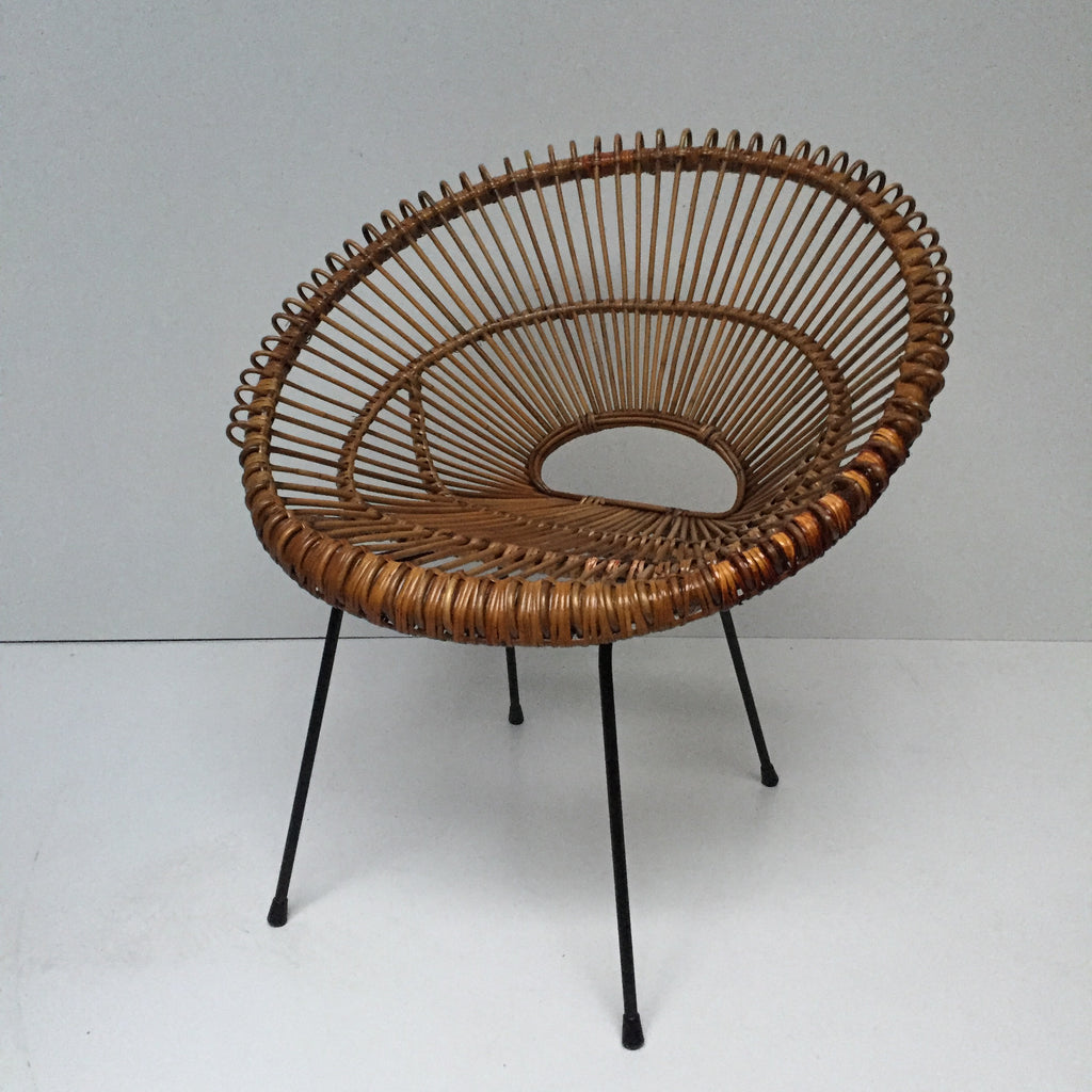 vintage franco albini janine abraham wicker rattan chair fauteuil en la petite brocante. Black Bedroom Furniture Sets. Home Design Ideas
