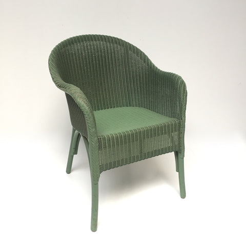 Green Lusty Lloyd Loom Vintage Wicker Chair 1950s - Fauteuil Vintage Lusty Lloyd Loom Vert - free delivery UK/France