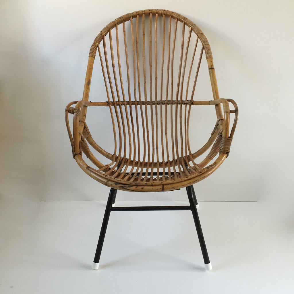 ... Retro Vintage Rattan Tall Wicker Chair Metal Feet   Fauteuil Rotin  Vintage Retro Haut Pieds Metal ...