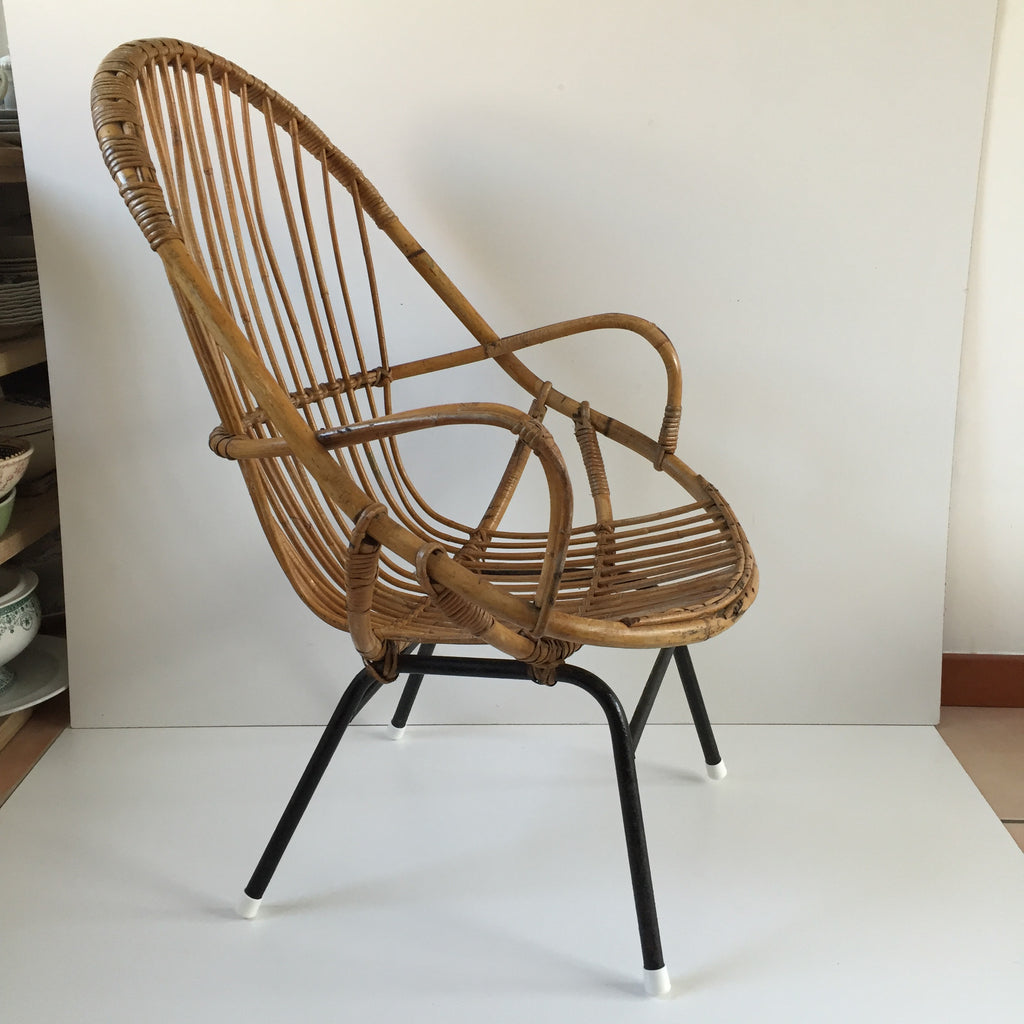 Retro Vintage Rattan Tall Wicker Chair Metal Feet Fauteuil Rotin - Fauteuil en rotin vintage