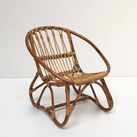 Vintage Rattan Wicker Kid's Chair- Fauteuil Rotin Enfant Vintage - Free Delivery UK-Livraison Gratuite France
