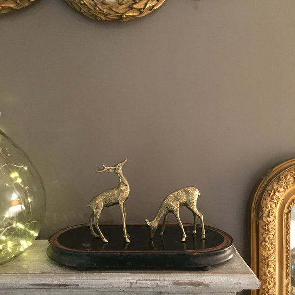 Retro Vintage Brass Deer and Foe - Cerf et Biche en Laiton Vintage - Free delivery UK - Livraison gratuite France