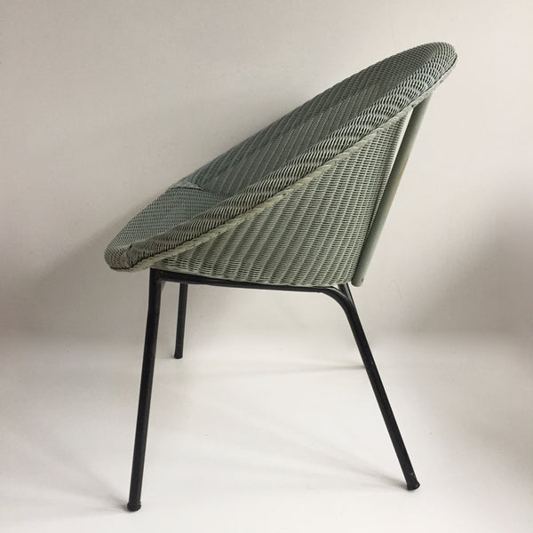 Baby Blue Lusty Lloyd Loom Vintage Wicker Chair 1950s - Chaise Lusty Lloyd Loom Aqua Osier et Metal - free delivery UK/France