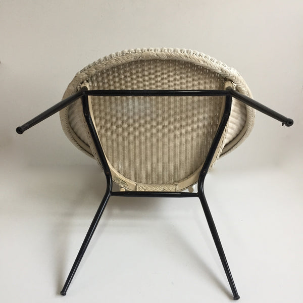 White Lusty Lloyd Loom Vintage Wicker Chair 1950s - Chaise Lusty Lloyd Loom Osier et Metal - free delivery UK/France