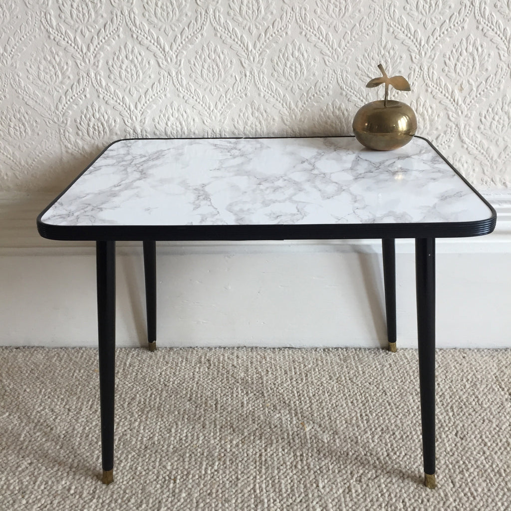 50 cm marble effect vintage coffee table 1950s table for Table basse dessus marbre