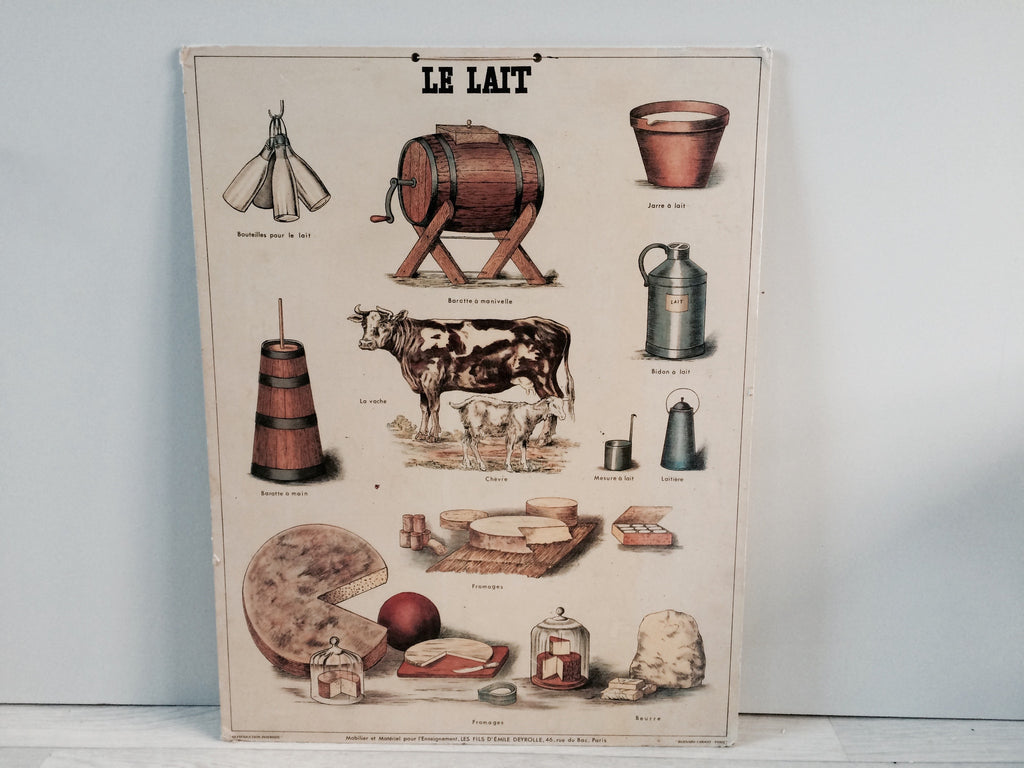 "Vintage French School Poster on Card 1950s ""Le Lait"""