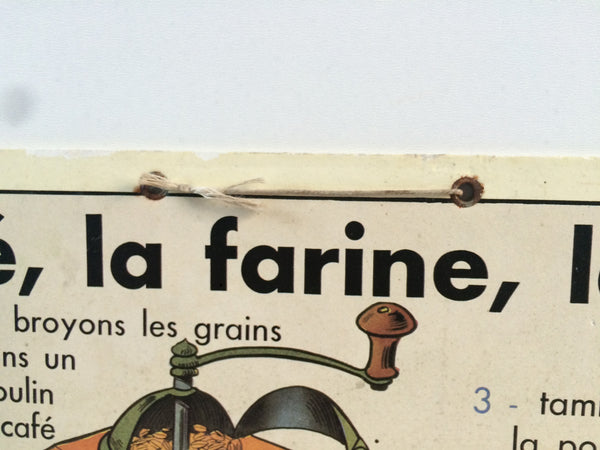 "Vintage French School Poster on Card 1950s ""Le ble, la farine, le pain"""