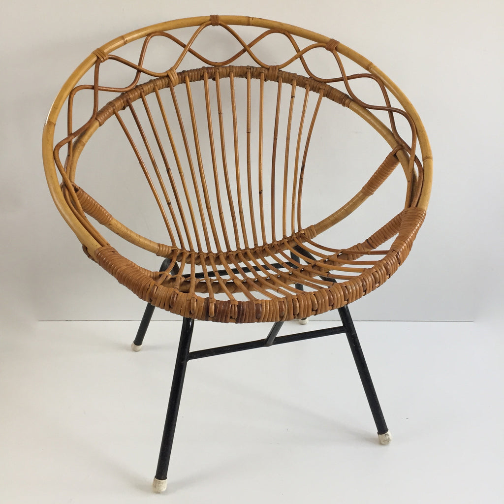 vintage rattan wicker chair metal feet fauteuil rotin vintage pieds metal free delivery uk - Fauteuil Rotin Vintage