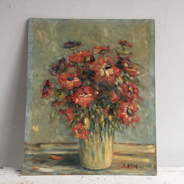 Charming Vintage French Oil Flower Painting - Charmante Peinture Anemones - Free delivery UK - Livraison Gratuite France