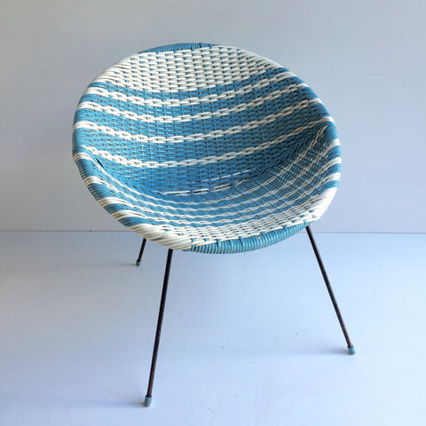 Vintage Satellite Atomic Woven Wicker Scoubidou Kids Chair - Chaise Enfant Scoubidou Satellite Retro Annees 50 Rotin Plastique Tressé
