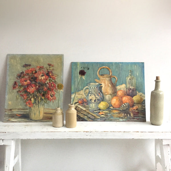 Charming Vintage French Oil Nature Morte Painting - Charmante Nature Morte - Free delivery UK - Livraison Gratuite France
