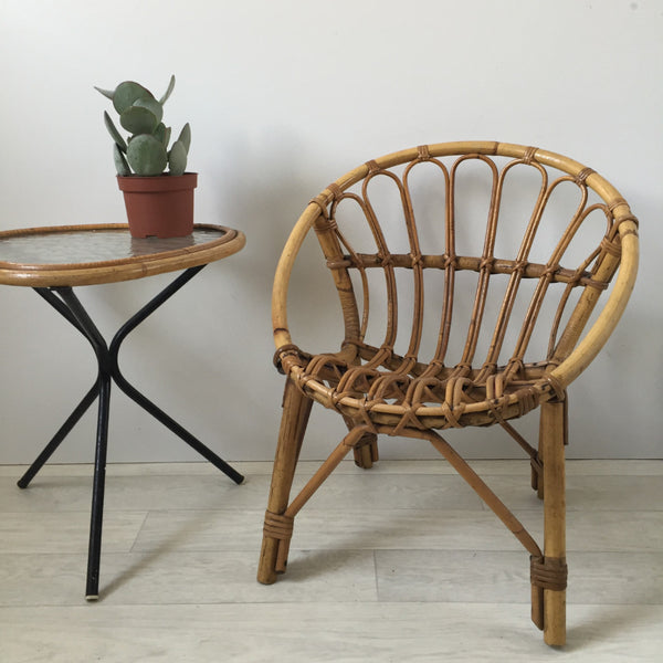 Vintage Rattan Full Wicker Kid's Chair - Fauteuil Coquille Rotin Enfant Vintage - Free Delivery UK-Livraison Gratuite France