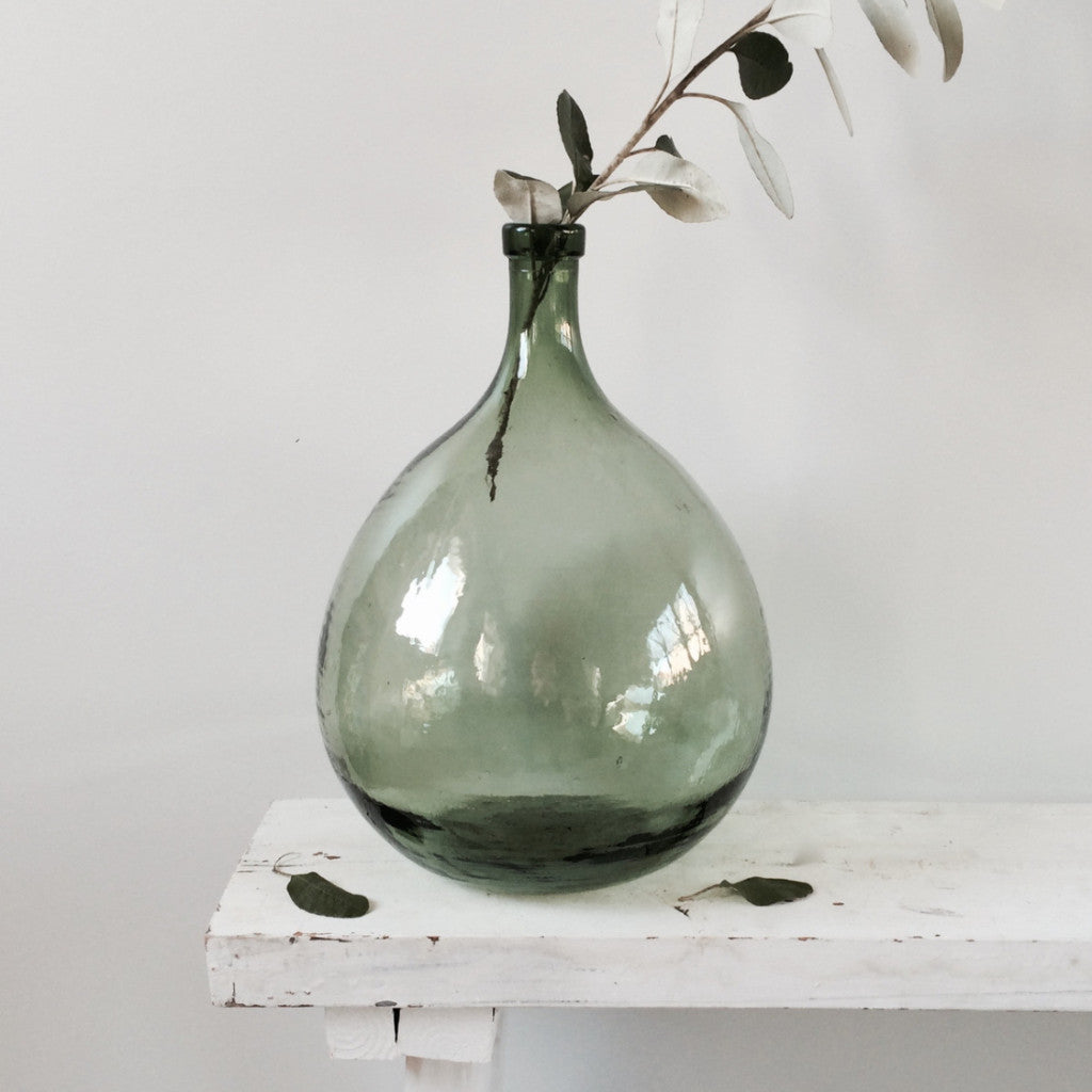 Dame Jeanne Demi John Vintage Glass Bottle Vase Green 10L – La ...