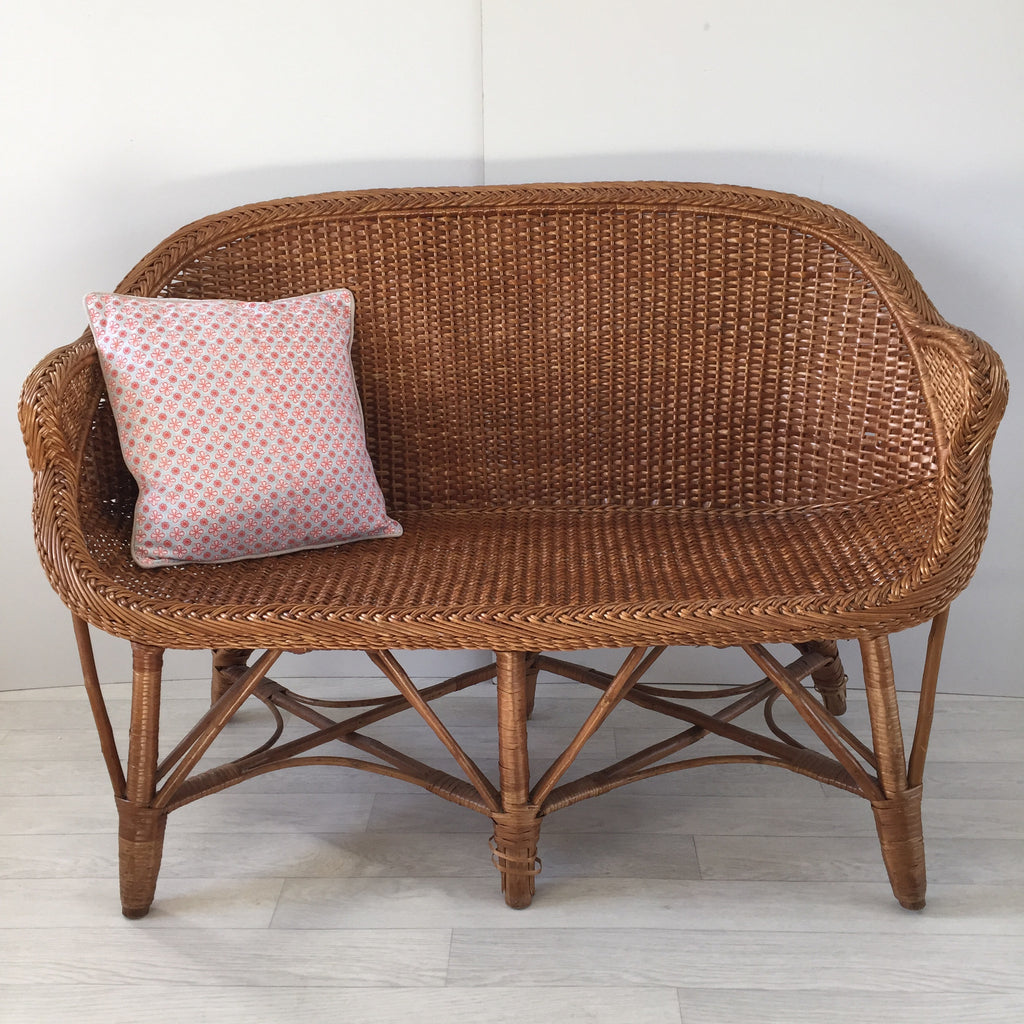 Captivating Vintage Rattan Wicker Settee Sofa 2 Seater   Banquette Canapé Rotin Vintage    Free Delivery