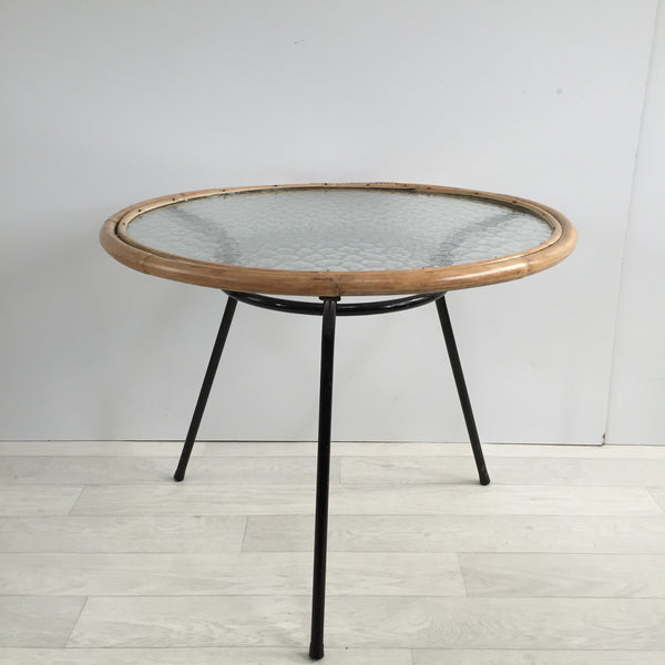 1950s Vintage Tripode Rohé Glass and Wicker Table - Table Vintage Tripode Rotin et Verre Rohé Annees 50 - Free Delivery UK - Livraison Gratuite France