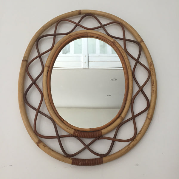 Vintage Bamboo Wicker Oval Mirror - Miroir Ovale Vintage Rotin Bambou- Free Delivery UK-Livraison Gratuite France