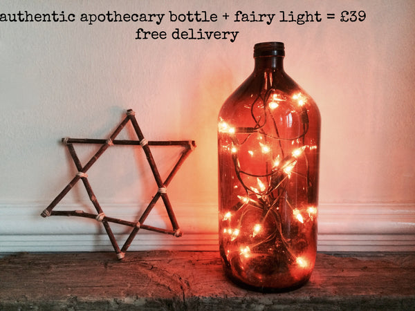 Vintage Apothecary Bottle Filled with Fairy Lights - Bouteille Apothicaire Ambree avec Fairy Lights - Free delivery- Livraison Gratuite