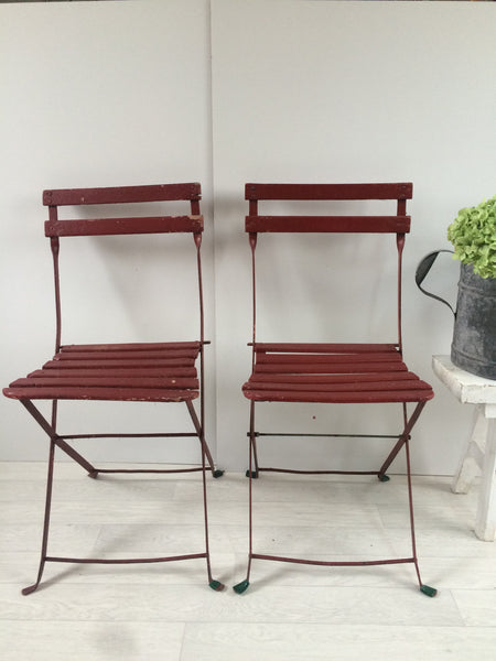 French Shabby Chic Vintage Foldable Garden Paris Brasserie Chairs Wood and Metal