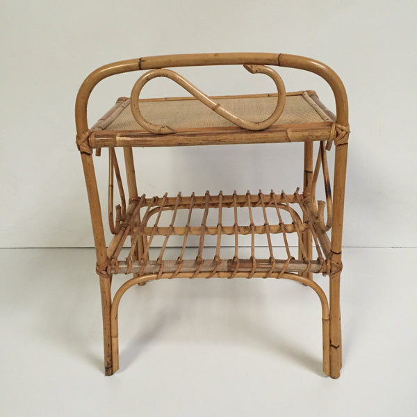 Vintage Wicker Side Table - Petite Table Vintage Rotin - Free Delivery UK - Livraison Gratuite France