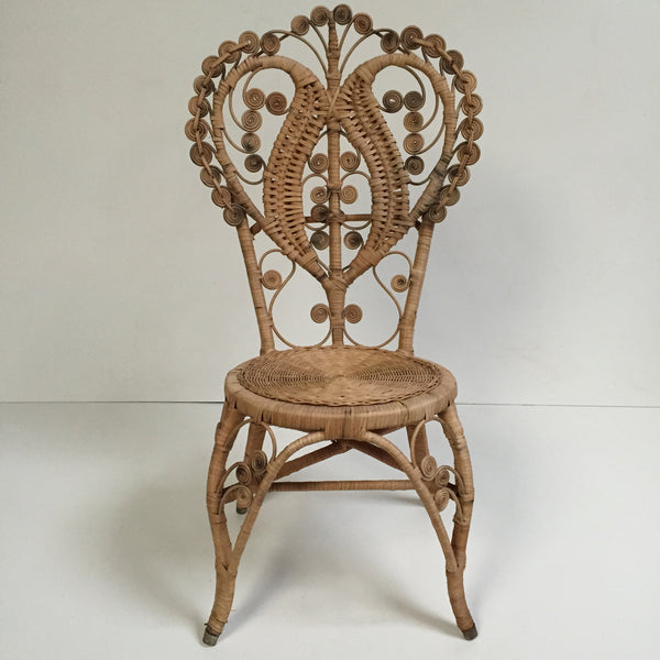 Bohemian Peacock Intricate Wicker Chair - Chaise Boho Peacock 1970s - Free delivery- Livraison Gratuite