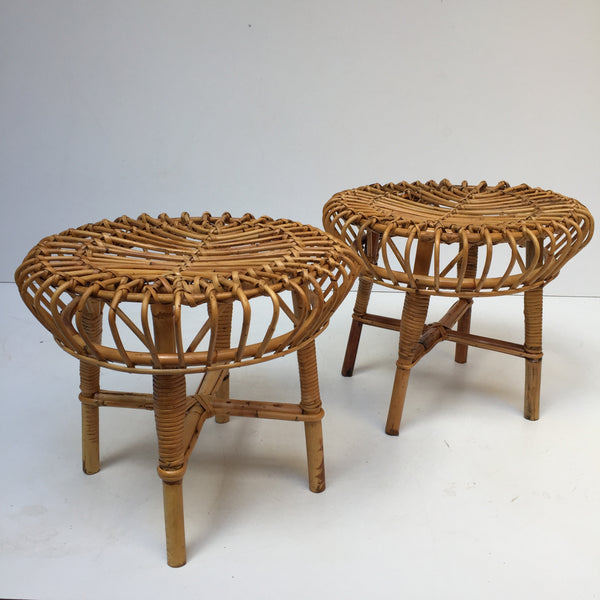 Pair of Vintage Boho Wicker Stools - Paire de Tabourets Vintage Rotin Boheme Albini- Free Delivery UK & France