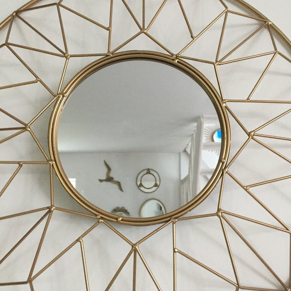 Gold Metal Mirror - Miroir Metal Dore - Free delivery UK - Livraison gratuite France
