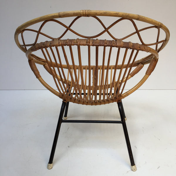 Vintage Rattan Twisted Wicker Chair Metal Feet - Fauteuil Rotin Vintage Croisillons Pieds Metal - Free Delivery UK-Livraison Gratuite France