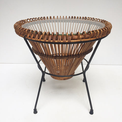 Vintage Franco Albini Janine Abraham 1950s Wicker Table - Table Ronde en Rotin Vintage Franco Albini Janine Abraham Annees 50 -Free Delivery