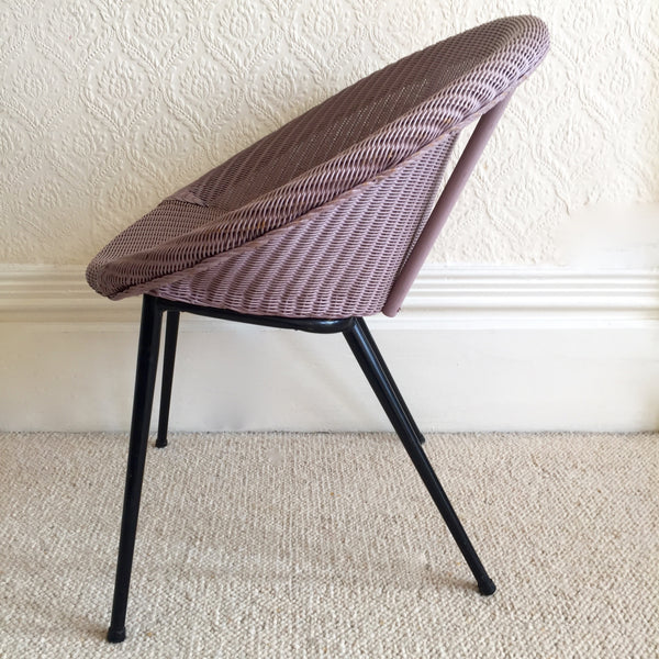 Lilac Lusty Lloyd Loom Vintage Wicker Chair 1950s - Chaise Lusty Lloyd Loom Osier et Metal - free delivery UK/France