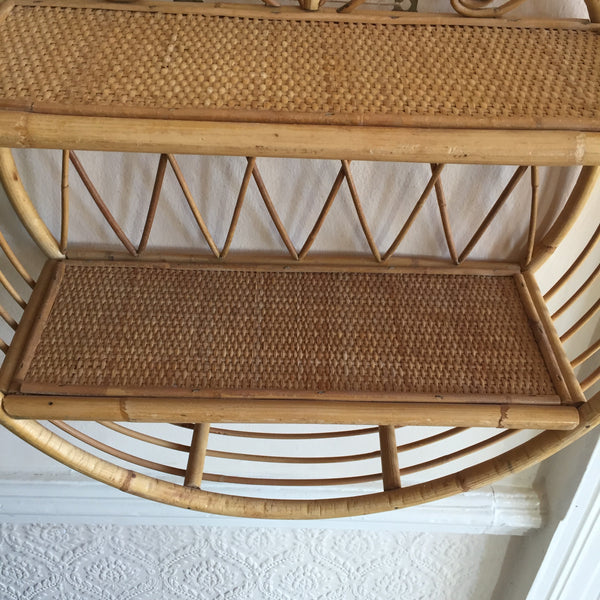 Vintage Rattan Wicker Simple Shelves - Etagere en Rotin Vintage Peacock-Free delivery UK- Livraison Gratuite France